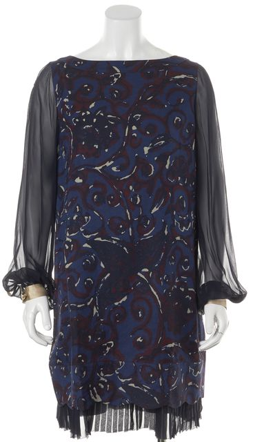 TORY BURCH Blue Red Abstract Wool Dorrance Shift Dress