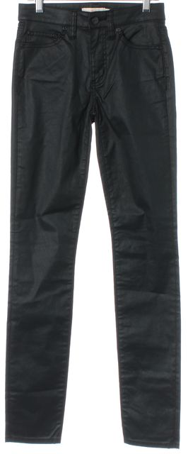 TORY BURCH Black Coated Mid-Rise Stretch Cotton Skinny Jeans