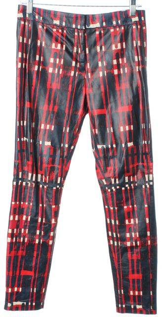 TORY BURCH Red Navy White Leather Abstract Print Casual Pants