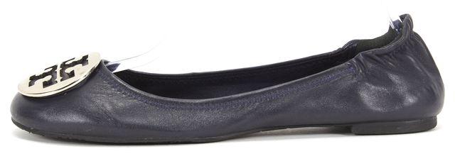 TORY BURCH Navy Blue Leather Silver Logo Reva Round Toe Ballet Flats