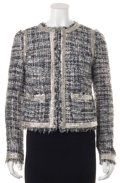TORY BURCH Gray Purple Gold Embellished Tweed Open Basic Jacket