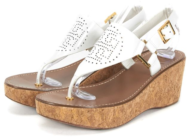 TORY BURCH White Patent Leather Cork Slingback Platform Sandals