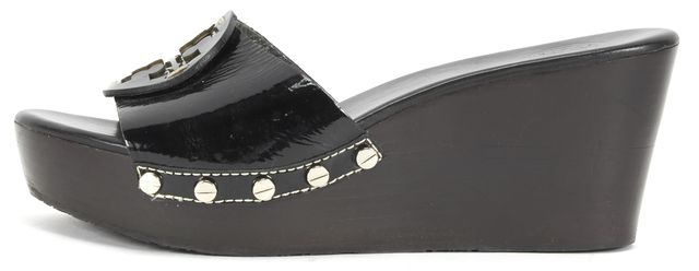 TORY BURCH Black Patent Leather Slip On Sandal Platform Shoes