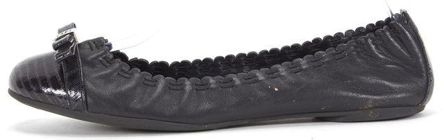 TORY BURCH Black Leather Patent Toe Cap Scalloped Ballet Flats