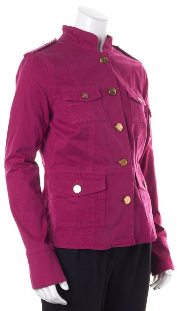 TORY BURCH Fuchsia Pink Gold Button Up Stretch Cotton Basic Jacket
