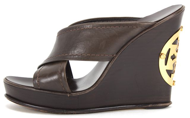 TORY BURCH Brown Leather Criss Cross Slide Stacked Wooden Wedges