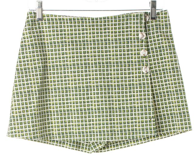 TORY BURCH Green White Geometric Cotton Button Front Skort Shorts