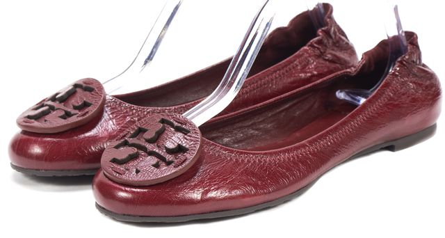 TORY BURCH Burgundy Red Leather Reva Ballet Flats