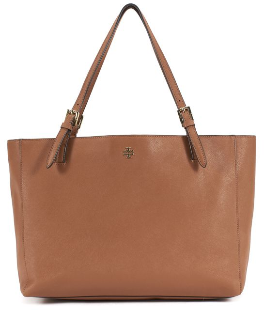 TORY BURCH Brown Saffiano Leather Gold Hardware Adjustable Strap Tote Bag