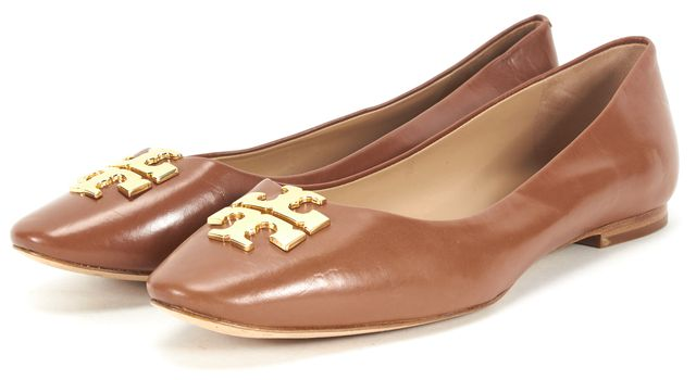 TORY BURCH Brown Gold Leather Ballet Flats