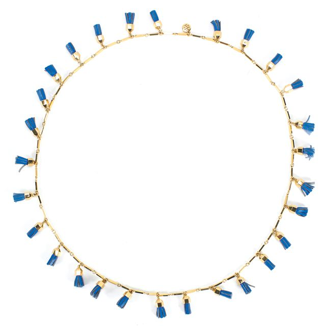 TORY BURCH Gold Blue Leather Fringe Fashion Necklace
