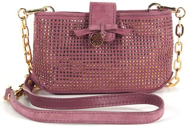 TORY BURCH Pink Suede Gold Rhinestone Embellished Chain Crossbody Shoulder Bag
