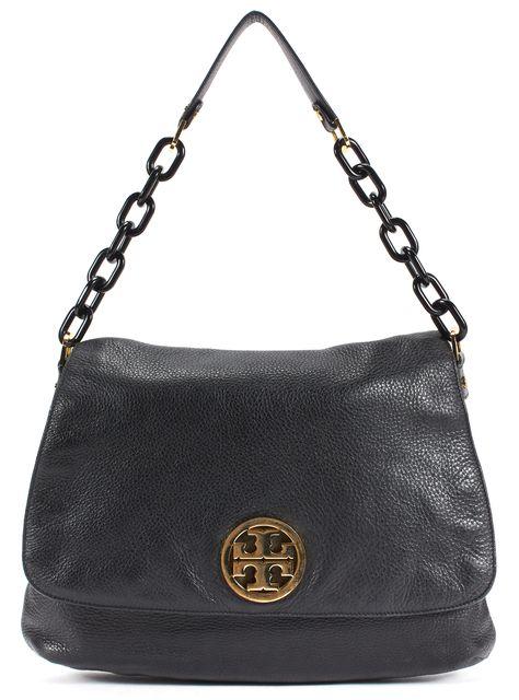 TORY BURCH Black Pebbled Leather Fold-Over Chain Link Strap Shoulder Bag