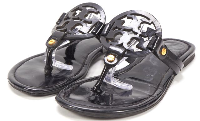TORY BURCH Black Patent Leather Miller Logo Flat Sandals