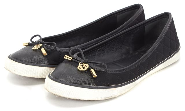 TORY BURCH Black Gold Satin Quilted Saffiano Leather Trim Flat Sneakers