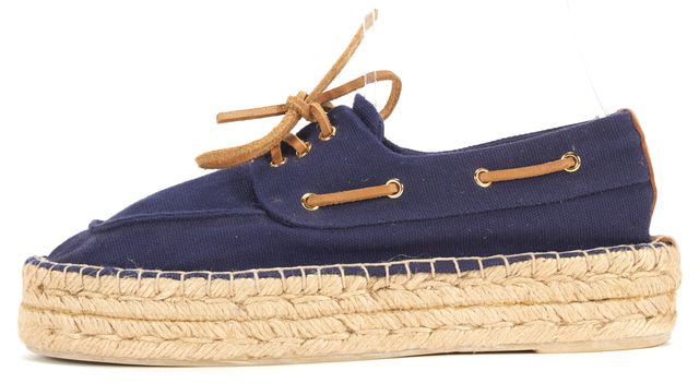 TORY BURCH Navy Brown Canvas Leather Trim Espadrille Boating Flats