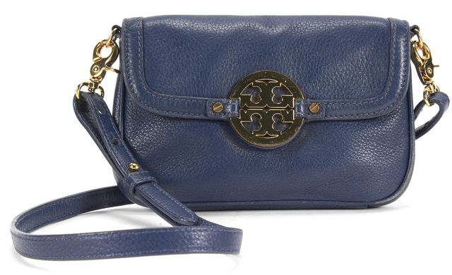 TORY BURCH Navy Pebbled Leather Gold Hardware Adjustable Strap Crossbody Bag