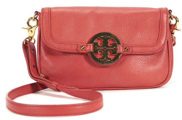 TORY BURCH Orange Pebbled Leather Gold Hardware Adjustable Strap Crossbody