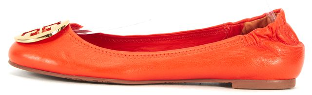 TORY BURCH Orange Leather Gold Hardware Ballet Flats