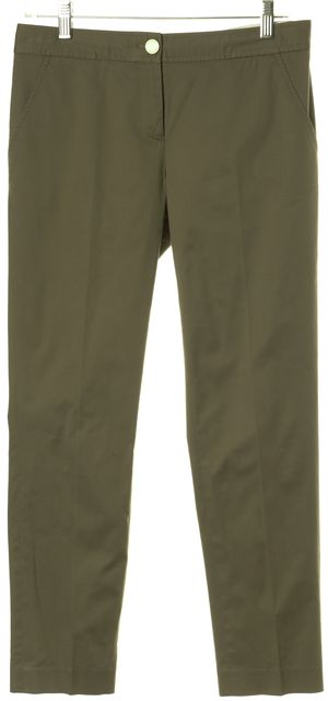 TORY BURCH Olive Green Skinny Ankle Chinos Pants