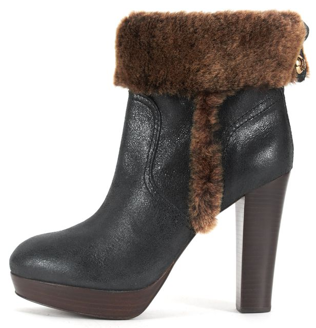 TORY BURCH Black Leather Faux Fur Trim Stacked Heel Almond Toe Ankle Boots Size