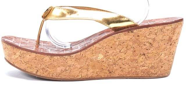 TORY BURCH Gold Leather Cork Wedged Sandals