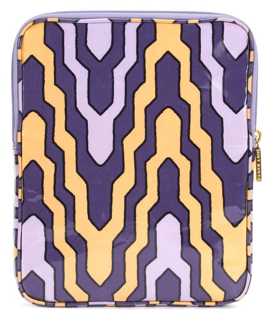 TORY BURCH Purple Lavender Yellow Abstract Print Zip Tablet Case