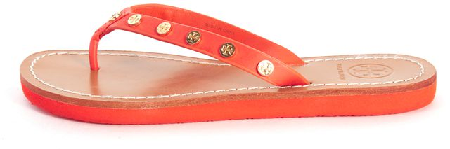 TORY BURCH Orange Brown Leather Studded Ricki Flip Flop Thong Sandals