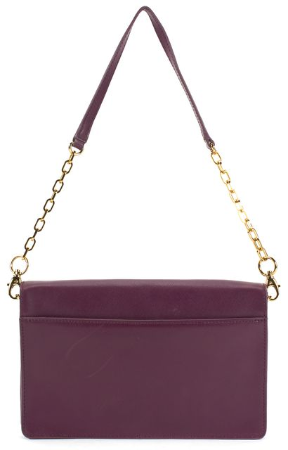 TORY BURCH Purple Gold Hardware Saffiano Leather Convertible Robinson Clutch
