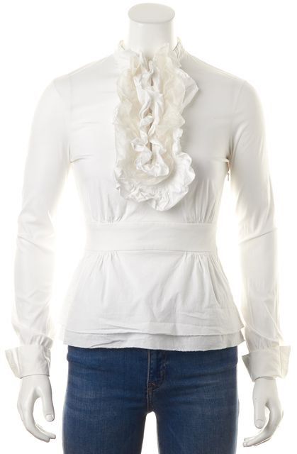 TORY BURCH White Stretch Cotton Long Sleeve Ruffled Blouse