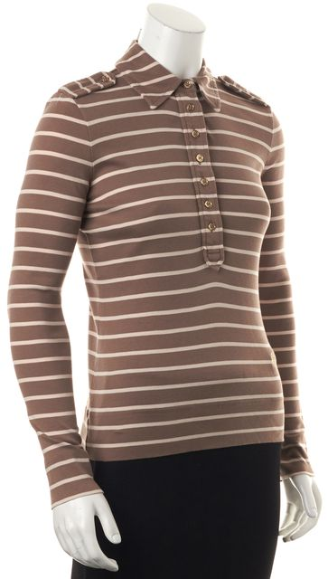 TORY BURCH Brown Beige Striped Cotton Long Sleeve Polo Shirt