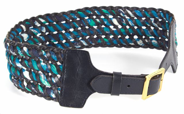 TORY BURCH Navy Blue Green Leather Woven Wide Belt
