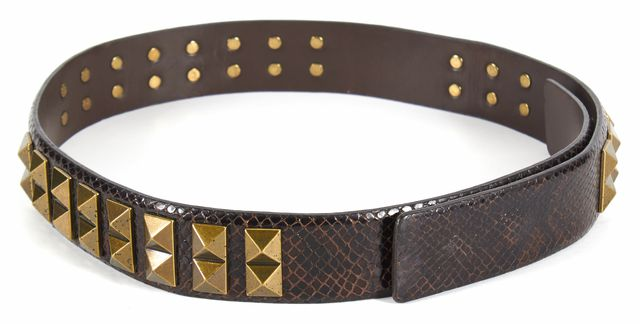 TORY BURCH Brown Snake Embossed Leather Gold Studded Belt