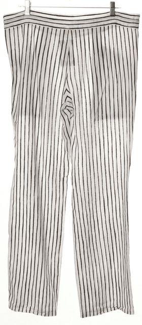 TORY BURCH White Navy Blue Draw String Wide Leg Linen Pants