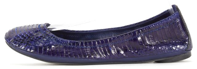TORY BURCH Blue Snake Embossed Leather Ballet Flats