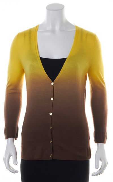 TORY BURCH Yellow Brown Gradient Wool Cardigan