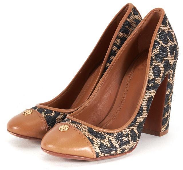 TORY BURCH Brown Black Raffia Patent Leather Cap Toe Heels