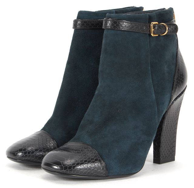 TORY BURCH Navy Suede Snake Embossed Leather Cap Toe Ankle Boots