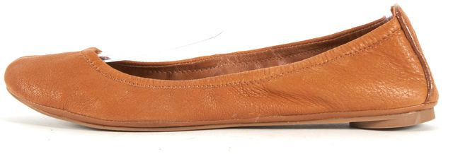 TORY BURCH Tan Brown Leather Round Toe Ballet Flats