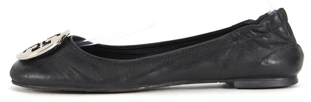 TORY BURCH Black Leather Silver Hardware Logo Ballet Flats