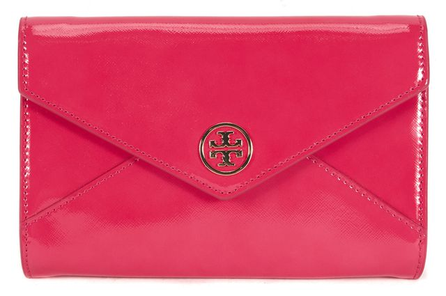TORY BURCH Pink Patent Leather Robison Small Envelope Roll Clutch