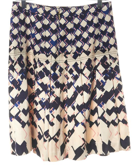 TORY BURCH Ivory Black Pink Abstract Silk Pleated A-Line Skirt