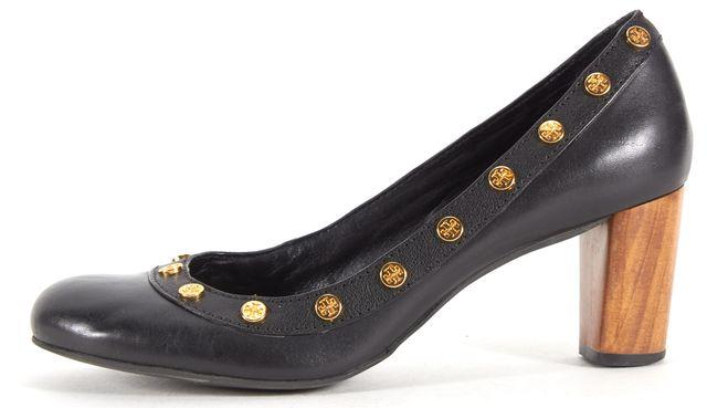 TORY BURCH Black Leather Gold Stud Embellished Round-Toe Wooden Heels