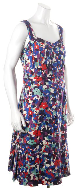 TORY BURCH Blue Red Green Floral Sleeveless Mid-Calf Sheath Dress