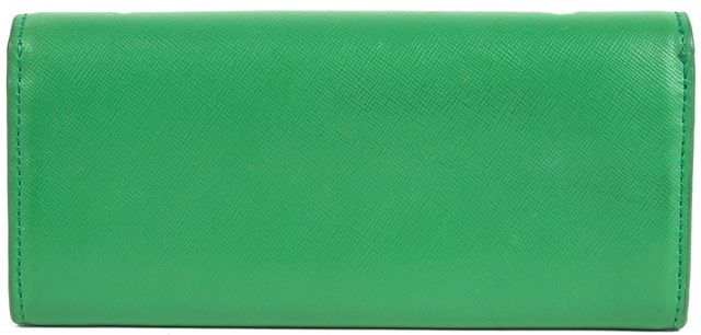 TORY BURCH Green Saffiano Leather Gold Hardware Continental Wallet