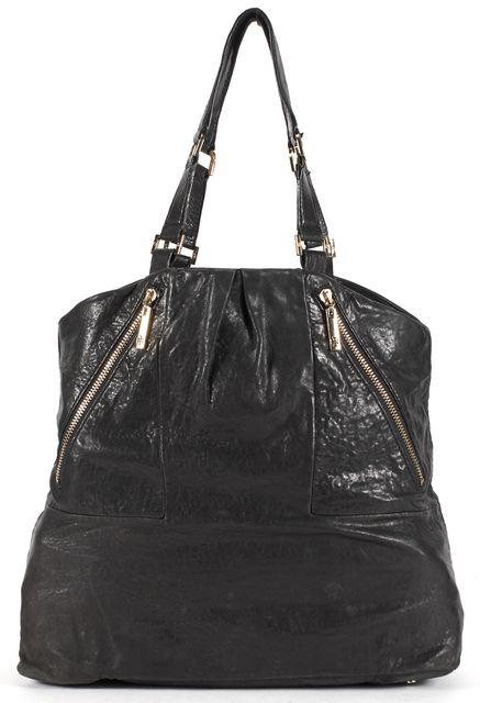 TORY BURCH Black Pebbled Leather Zip Front Pockets Gold Hardware Shoulder Bag