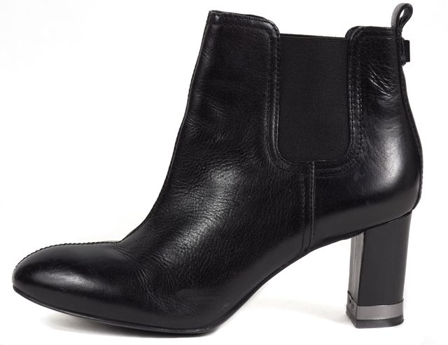TORY BURCH Black Leather Silver Embellished Heeled Ankle Boots