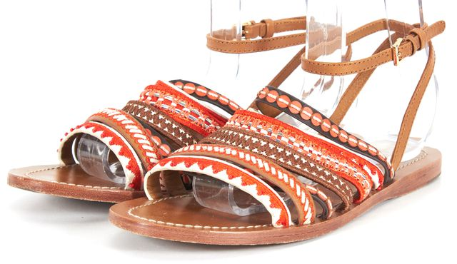 TORY BURCH Brown Orange White Embroidered Leather Multi-Band Sandals