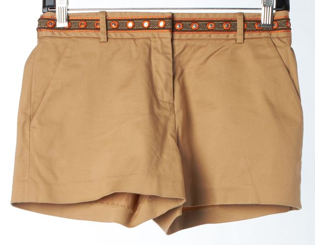 TORY BURCH Beige Orange Embroidered Stretch Cotton Casual Shorts