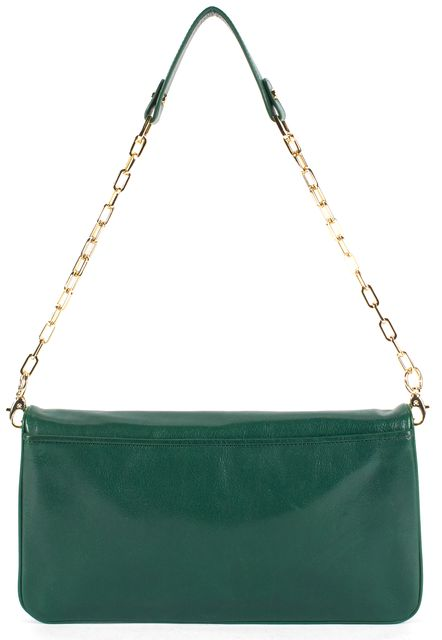 TORY BURCH Green Hunter Leather Gold Chain Strap Convertible Clutch Bag